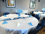 Blue table runners and decor
