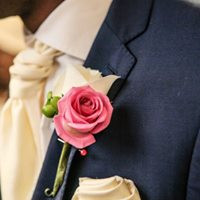 PC Creations Leeds Pink and Ivory Rose Boutonniere