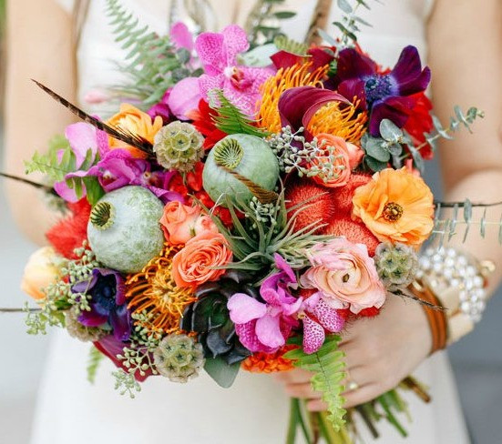 Brides Bouquet including Scabiosa Seed Pod, Seeded Eucalyptus and large Poppy Seed head