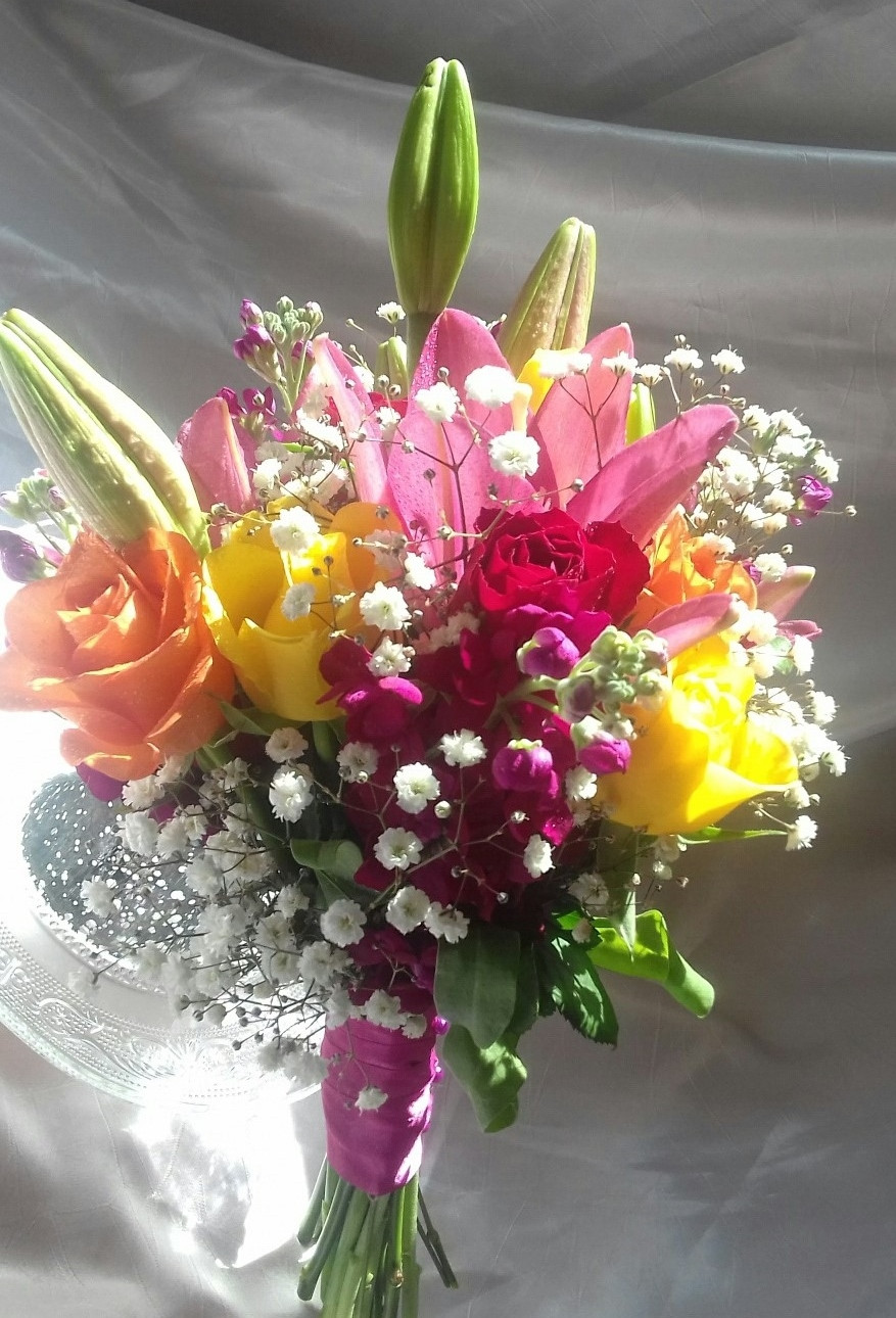 Rose and Lily bouquet in jewel colours by PC Creations Leeds