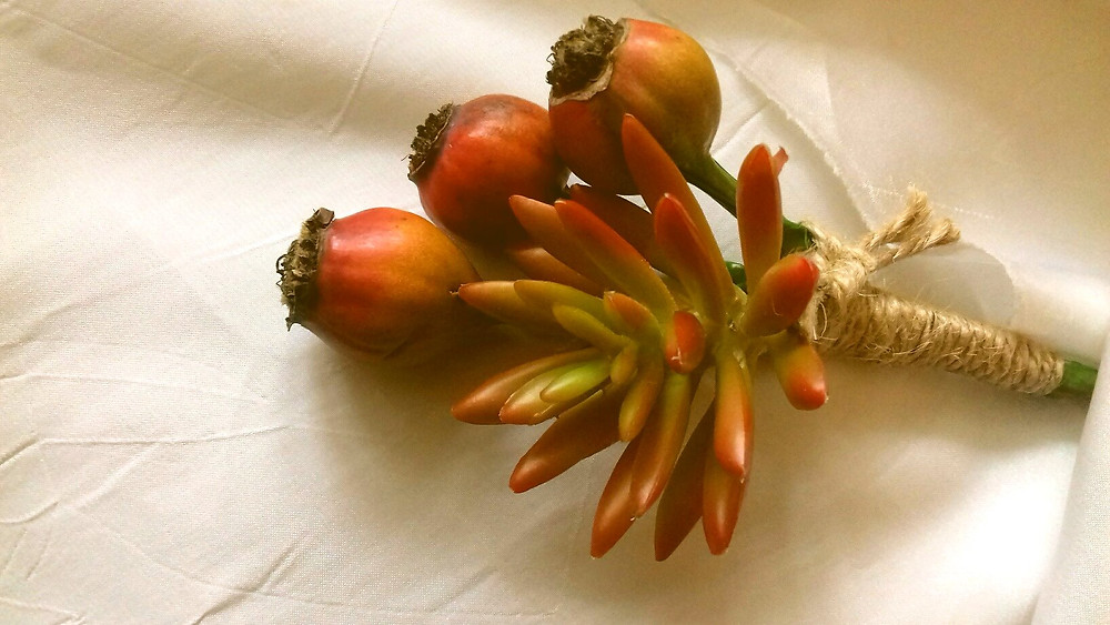 Boutonniere, Rosehip and succulent