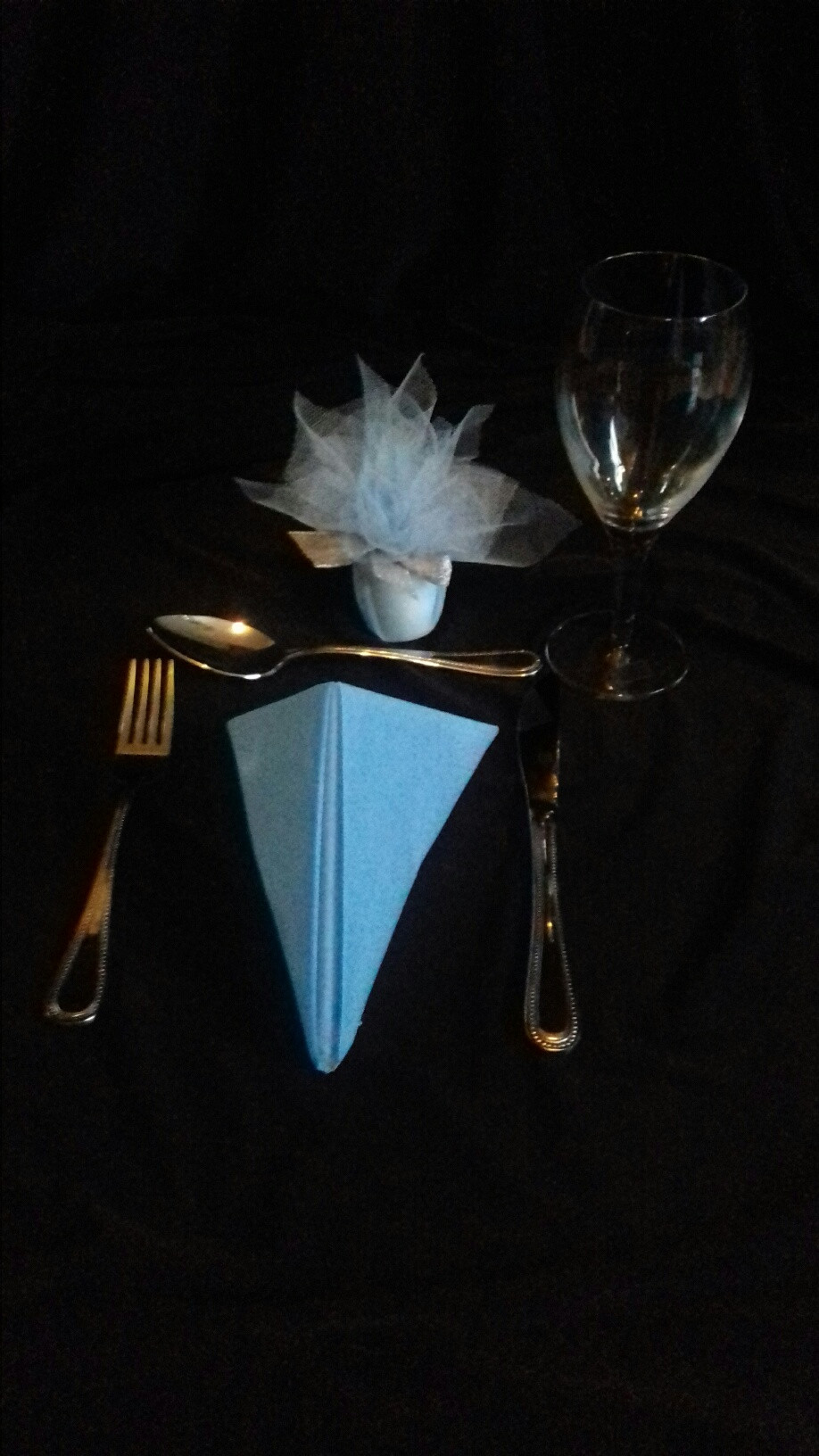 Wedding Favour Votive Wrapped in Baby Blue Tulle