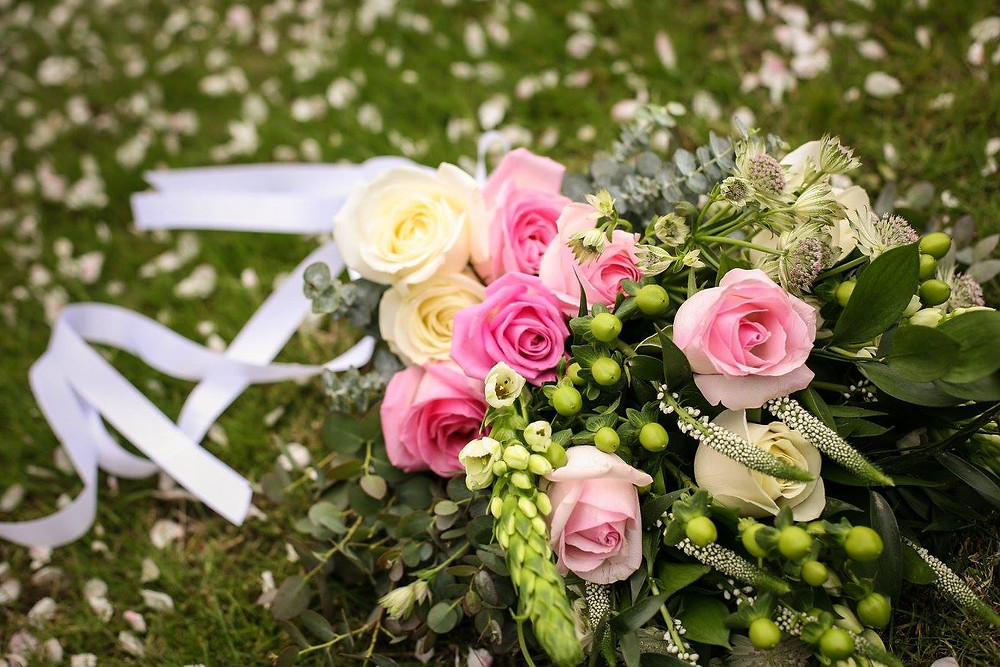 Brides bouquet by PC Creations including Green Hypericum Berries