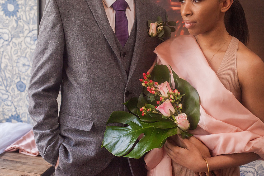 Brides Bouquet Monstera Leaves and Roses by PC Creations Leeds