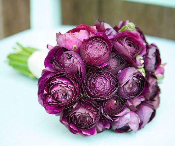 Purple ranunculus Brides bouquet by 'Weddings and Elegant Flowers' image found on pinterest