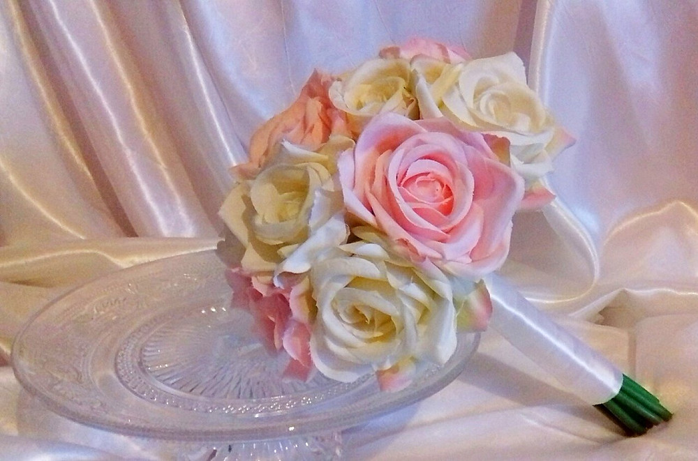 Brides Bouquet of Pink and White Roses