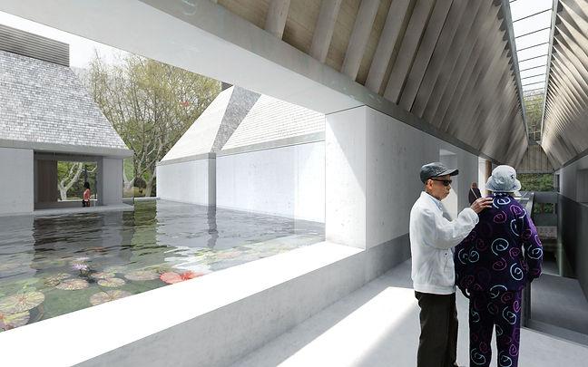 gallery roof garden china chinese shanghai zhangdaqian chang da chien pool courtyard rafters
