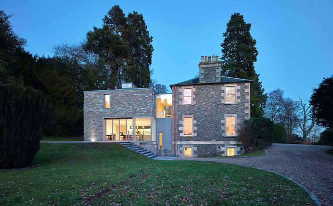 abbotsmeadow gattonside melrose scottish borders slate stone georgian villa renovation dry fair faced dyke residential house extension