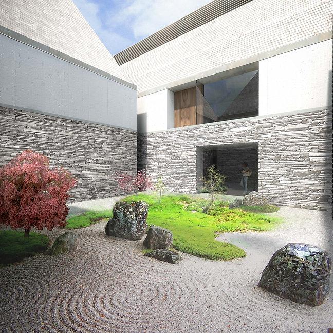 gallery roof garden china chinese shanghai zhangdaqian chang da chien courtyard zen pebbles raked japanese