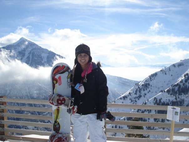 Martina snowboarding before her accident.