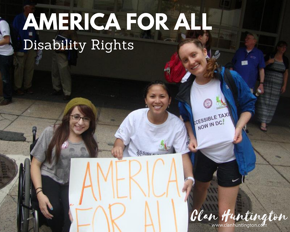Disability Rights March. Women in Wheelchairs.