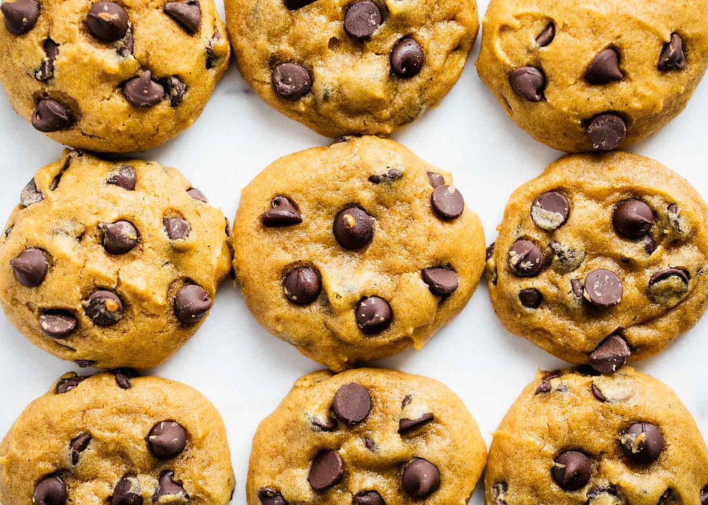 delicious pumpkin chocolate chip cookies, round, and golden