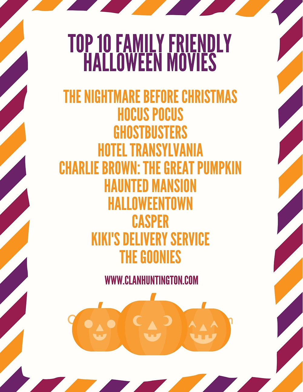 List of Top 10 Family Friendly Halloween Movies for families with younger children under 8 years old.