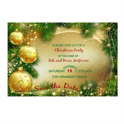 Golden Ornaments Christmas Save the Date Magnet