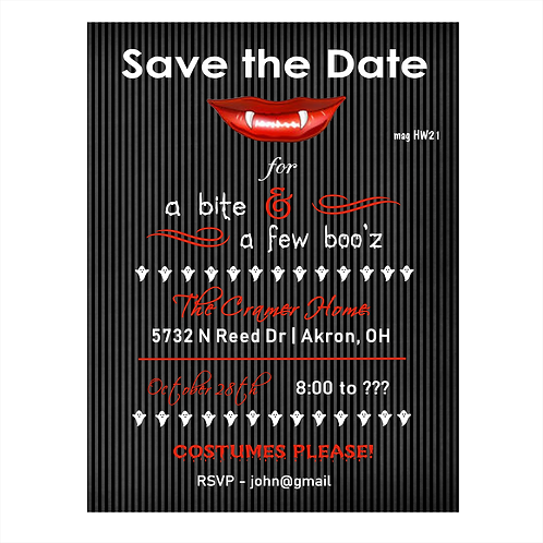 Bite and Boo-z Halloween Save The Date Magnet