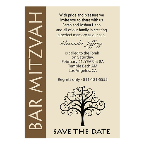 Tree of Life Bar Mitzvah Save the Date Magnets