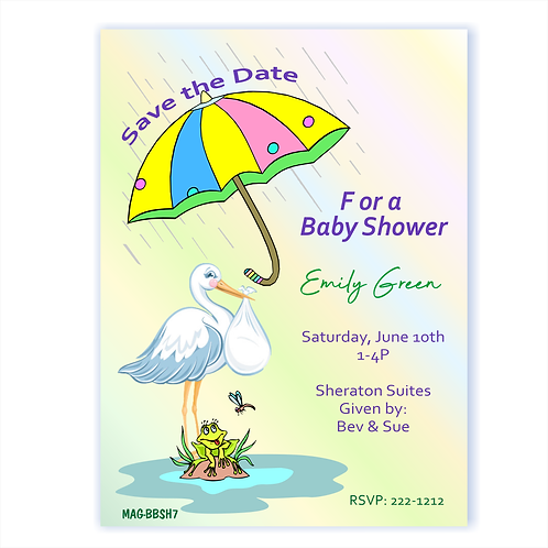 Colorful Brella Baby Shower Save the Date