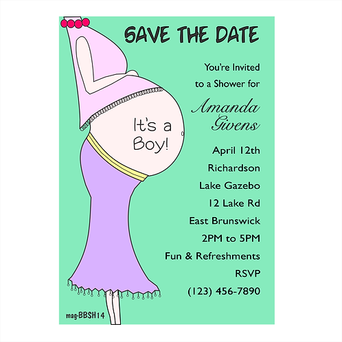Mom Belly Baby Shower Save the Date Magnets