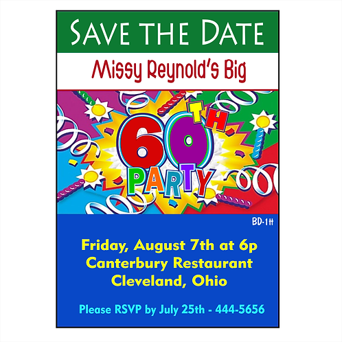 Colorful 60th Birthday Save the Date Magnet