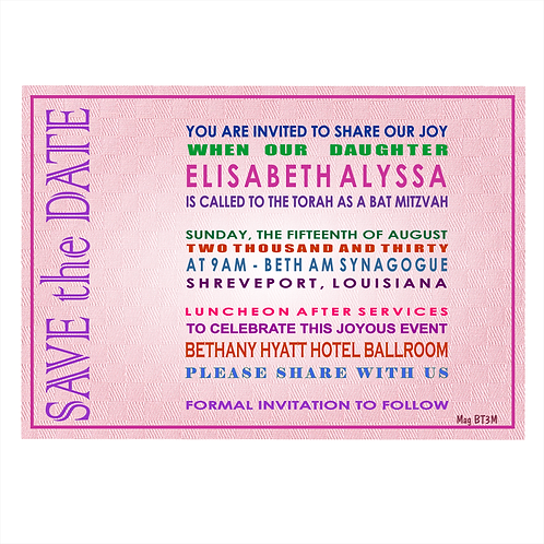 Word Art for Bat Mitzvah Save the Date Magnet