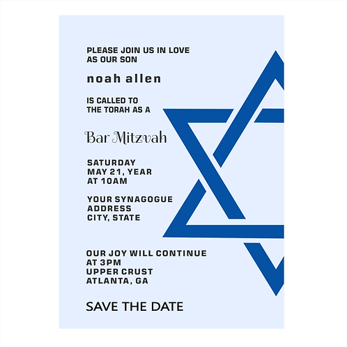 Bold Star Bar Mitzvah Save the Date Magnets