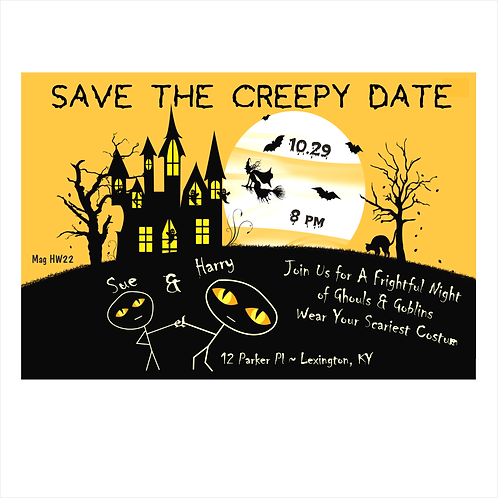Scary Creepy Night Halloween Save The Date Magnet