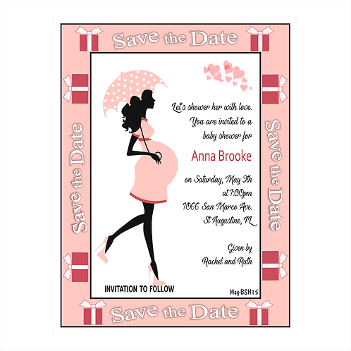 Pink Polka Dot Baby Shower Save the Date Magnet