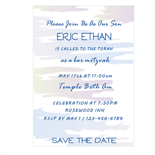 Water-Color Background Bar Mitzvah Save the Date Magnets