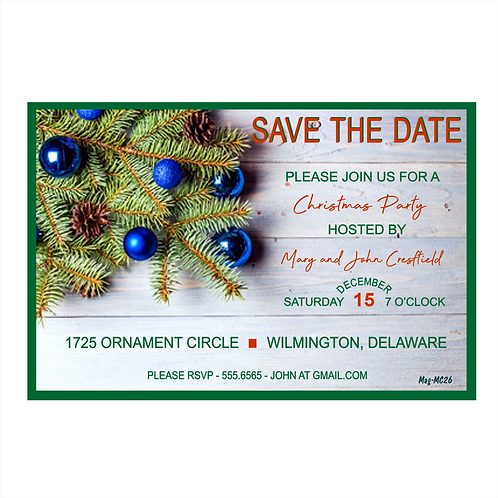 Festive Country Christmas Save the Date Magnet