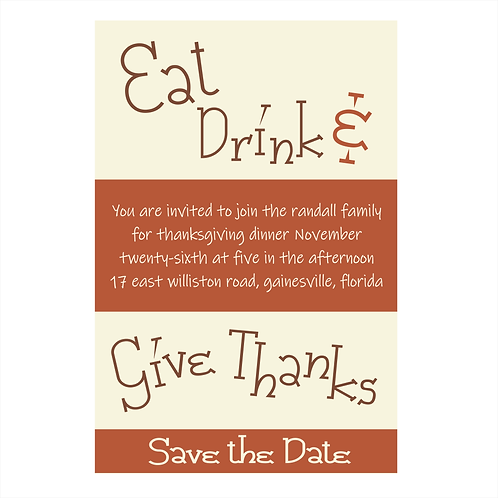 Eat Drink and Give Thanks Save the Date Magnet