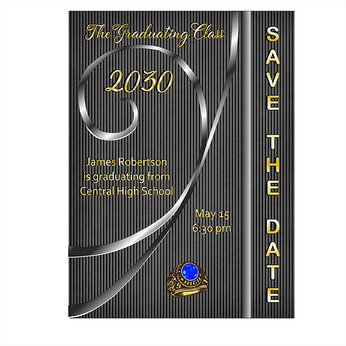 Stripes and Swirls Graduation Save The Date Magnets