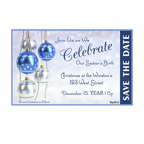 Blue and White Iridescent Christmas Save the Date Magnet