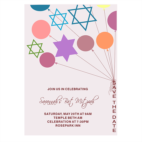 Happy Day Bat Mitzvah Save the Date Magnets