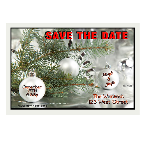 Silver Ribbon and Pine Christmas Save the Date Magnet