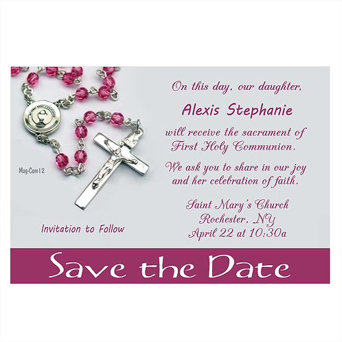 Blessed in Faith Communion Save The Date Magnets