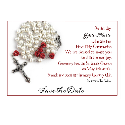 Rose Rosary Communion Save The Date Magnet