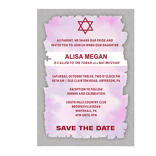 Ragged-Edge Bat Mitzvah Save the Date Magnets