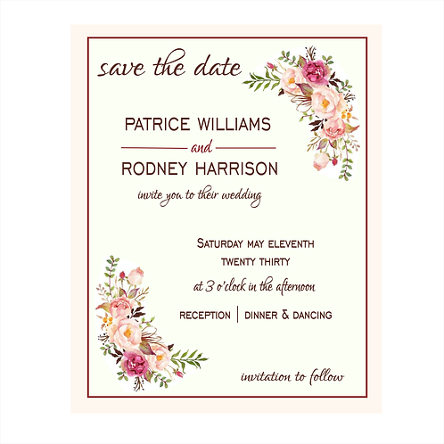 Pretty Rose Wedding Save the Date Magnets