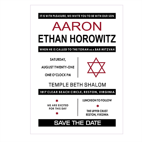 Geometric Style Bar Mitzvah Save the Date Magnets