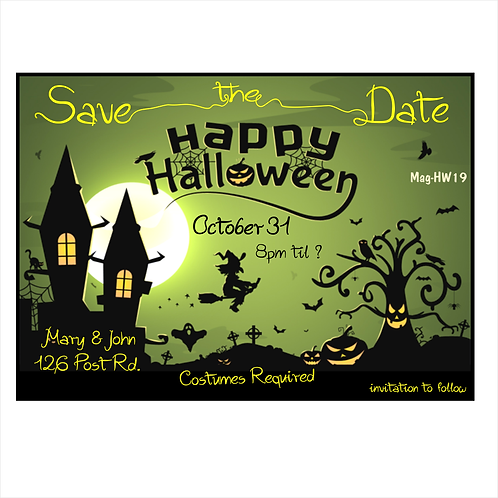 Green Ghouls Halloween Save The Date Magnets
