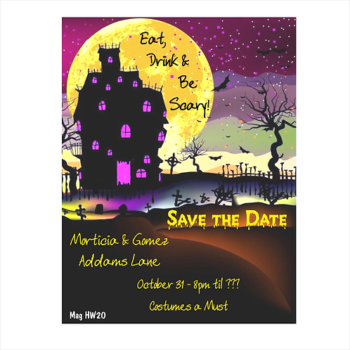 Full Moon Halloween Save The Date Magnet
