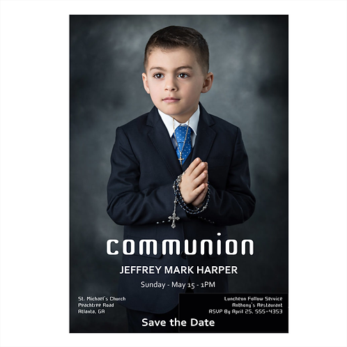 Devoted Photo Communion Save The Date Magnet