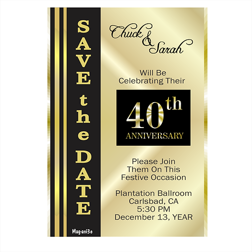 Black and Gold Anniversary Save the Date Magnet