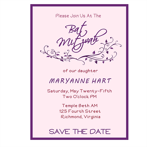 Pink and Purple Bat Mitzvah Save the Date Magnets