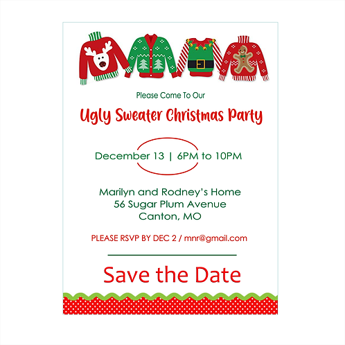 Ugly Sweater Christmas Party Save the Date Magnet