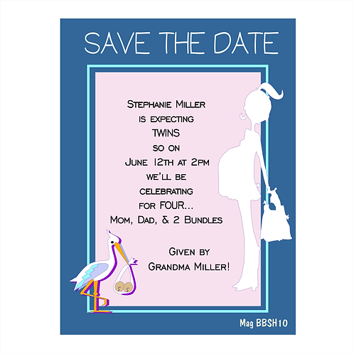 Expecting Twins Baby Shower Save the Date Magnet