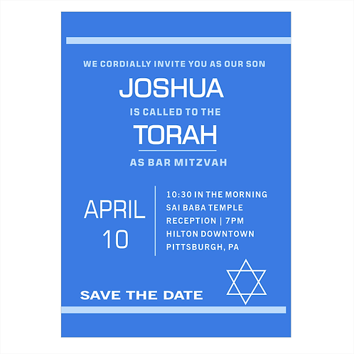 Bordered Blue Bar Mitzvah Save the Date Magnet