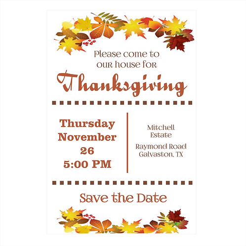 Thanksgiving Invitation Save The Date Magnet