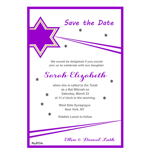 Bat Mitzvah Stars Save the Date Magnets