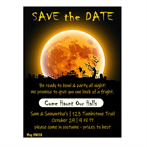 Howl At The Moon Halloween Party Save The Date Magnets